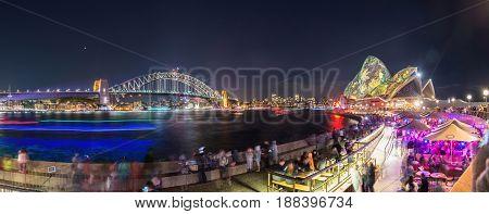 SYDNEY, AUSTRALIA - MAY 29 2015: Vivid Sydney light and sound festival 2015 at Sydney, Australia.
