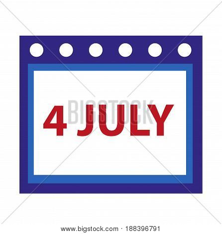 Calendar icon, flat style. 4th july concept. Isolated on white background. Vector illustration