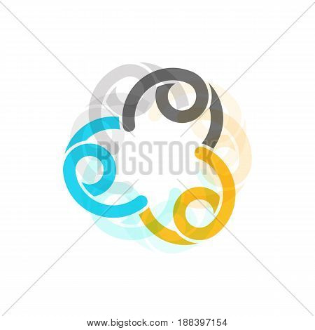 Color sign of unity and family vector template with the multiplier effect and transparency on white background.