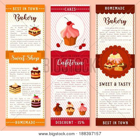 Cake, bakery and pastry dessert banner template. Cake and cupcake with cream, chocolate and fruit, muffin, berry pie, pudding, brownie, swiss roll cartoon symbol with ribbon for dessert menu design
