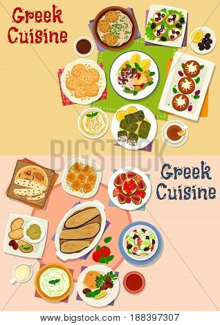 Greek cuisine lunch menu icon set of vegetable salad with olive, cheese and seafood, meat dolma, meatball pasta, olive bread, dip sauce, fruit salad, cake, cookie, yogurt dessert, eggplant casserole