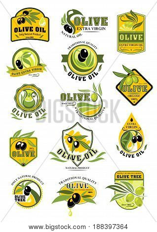 Olive oil and olive fruit label set. Green and black olive fruit with oil drop, branch and leaf symbol on badge with text Extra Virgin Oil and Natural Organic Product. Food packaging themes design