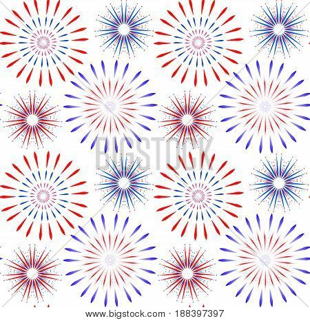 Independence Day of America seamless pattern. July 4th an endless background. USA national holiday repeating texture with firework. Vector illustration