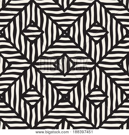 Vector Seamless Hand Drawn Pattern. Zigzag And Stripe Rough Lines. Tribal Design Background. Ethnic