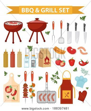 Barbecue and grill icons set, flat or cartoon style. BBQ collection of objects, elements of design. Isolated on white background. Vector illustration