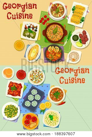 Georgian cuisine tasty lunch icon set. Grilled meat, walnut sauce, potato cheese pie with egg, vegetable salad with meat and nut, cheese ball, beef and chicken stew, cabbage roll dolma, meat rice soup