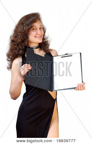 Beautiful smiling businesswoman holding open file folder showing business report isolated on white