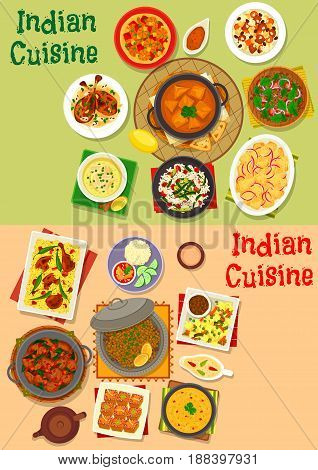 Indian cuisine dinner dishes menu icon set. Meat curry, vegetable chicken rice, pilau, shrimp masala, meat soup with chilli, lamb, potato and spinach stew, tomato lentil salad, cheese, almond chicken