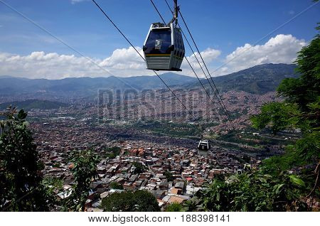 Medellin cable car Colombia connecting poor areas to the city centre