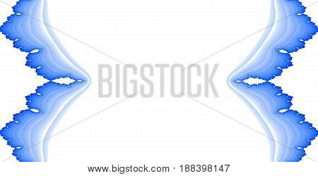 Symmetry mirror sides blue ornate decorations on white background