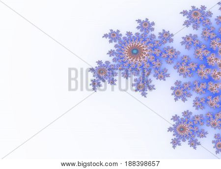 Light gradient blue floral graphic beautiful ornate decoration on white background