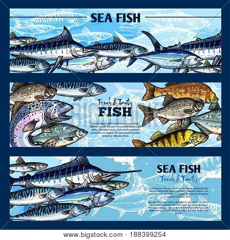 Fresh fish seafood restaurant sketch banner set. Salmon, tuna, blue marlin, mackerel, perch, trout, pike, carp and cod fish. Sea and freshwater animal for seafood menu, fish market and fishing design