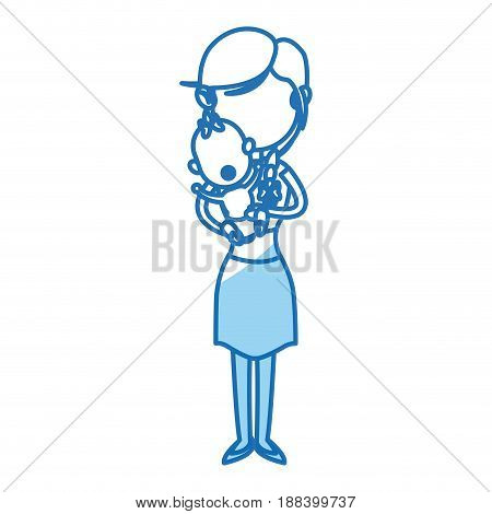 mother holding baby infant, motherhood, innocence vector illustration