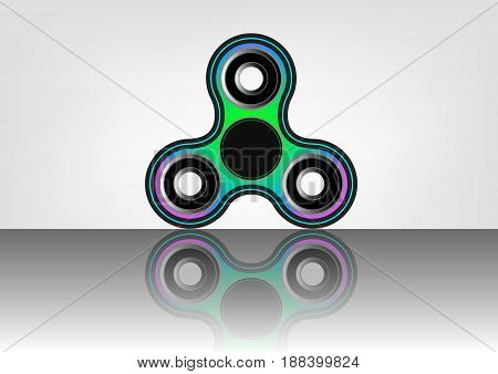 Fidget spinner icon - toy for stress relief and improvement of attention span. Filled multicolor