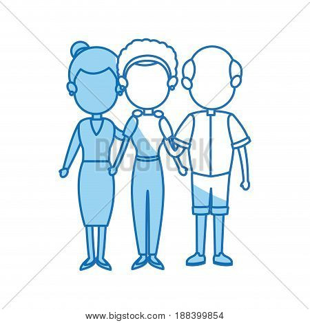 family mom with grandparents embraced vector illustration