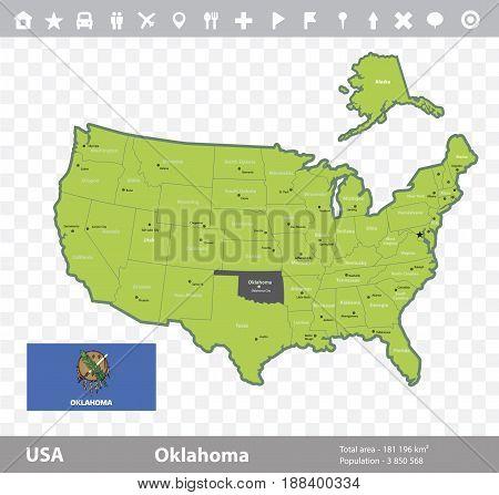 USA Oklahoma state map and flag vector image