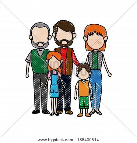 family parents with childrens. father, mother, children, grandpa vector illustration