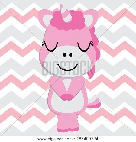 Cute baby unicorn is sleeping on chevron background vector cartoon, Kid Nursery wall, wallpaper, and greeting card, T-shirt design for kids