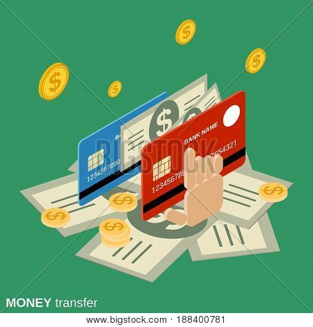 Money transaction, financial transfer, online banking flat isometric vector concept