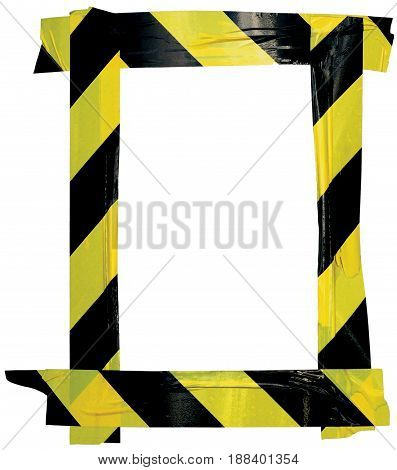 Yellow Black Caution Warning Tape Notice Sign Frame Vertical Adhesive Sticker Background Diagonal Hazard Stripes Signal Safety Attention Concept Isolated Large Detailed Closeup Old Aged Weathered Grunge Pattern