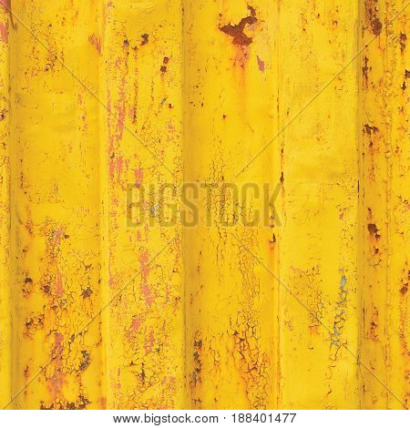 Yellow sea freight container background rusty corrugated pattern red primer coating vertical rusted detailed steel texture crakcked grungy metal paint detail old aged weathered textured rust metallic grunge copy space closeup