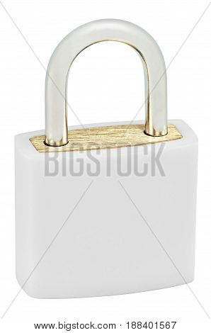 White Isolated Padlock Macro Closeup Large Detailed Vertical Studio Shot Closed Lock Protection Security Concept Golden Brass