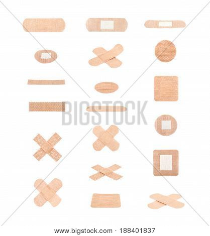 Adhesive bandage sticking plaster isolated over the white background, set of multiple different foreshortenings