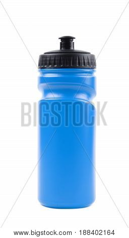 Blue plastic sport water bottle isolated over the white background