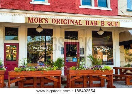 GRANVILLE OH - MAY 15 2017: With over 60 locations Granville is so far its only Ohio location for Moe's Bar B Que which serves Alabama-style BBQ and southern comfort food.