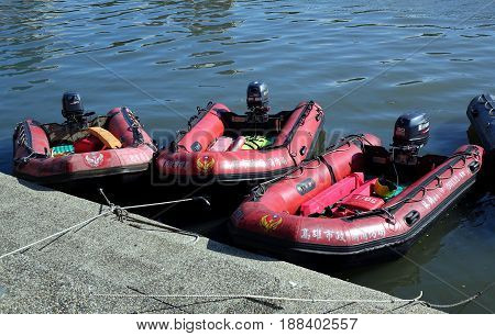 The Fire Department Prepares Rubber Dinghys