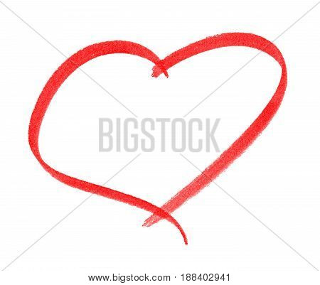 Heart shape frame with brush painting isolated on white background