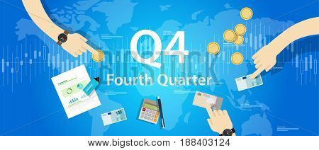 Q4 fourth quarter business report target corporate financial result vector