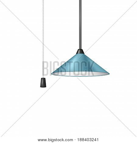 Retro hanging lamp in blue design with black and white cord switch on white background