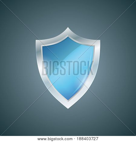Vector blue shield. Defense icon. Protection concept