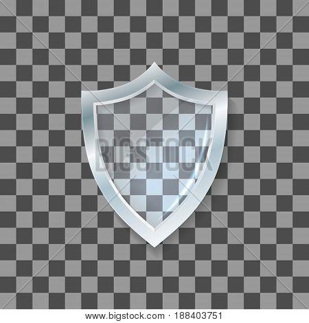 Vector glass shield. Defense icon. Protection concept