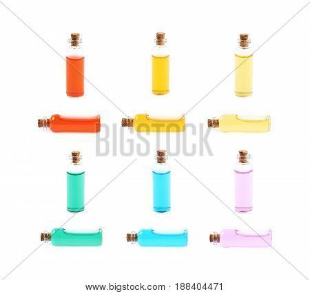 Single glass vial bottle with a cork filled with a colored liquid, isolated over the white background, set of twelve different foreshortenings