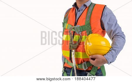 engineer wear fall arrest equipment isolated on white background