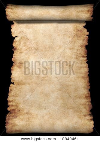 Vintage roll of parchment background isolated on black