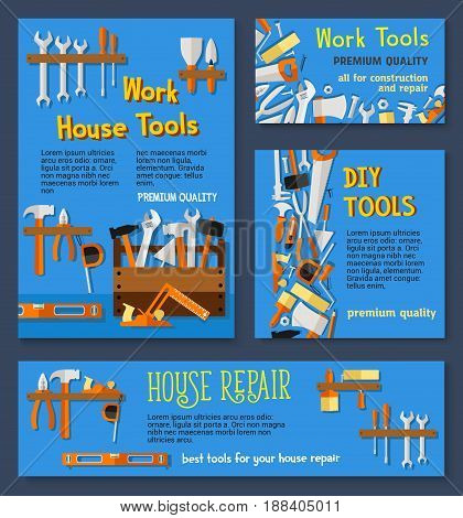 House repair work tools and DIY toolbox vector templates of tools for carpentry and building. Drill and hammer, ruler and toolbox, scredriver and spanner, plaster trowel, saw and paint brush