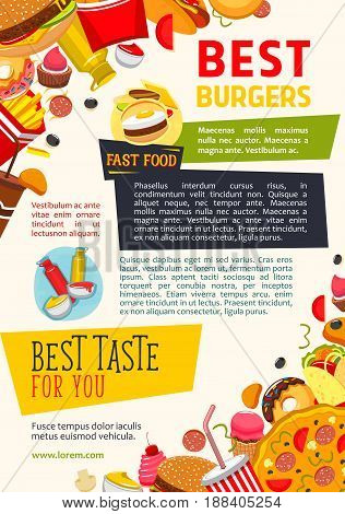 Fast food restaurant vector poster. Design of fastfood burgers and chicken grill meals, popcorn and french fries snacks, hot dog sandwiches and ice cream or donut desserts with ketchup or mustard
