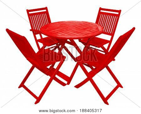 Red wooden table and chairs isolated on white with Clipping Path
