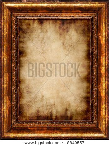 Antique burnt stylish parchment background in rustic wooden frame