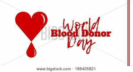 World Blood Donor Day June 14. Vector illustration isolated on white. Heart with a drop of blood symbolizes donation and charity.