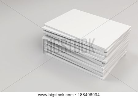 Stack Of Blank White Closed Brochure Mock-up On White Background