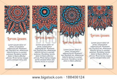 Floral ornament on vector banners set. Decor design of Mandala or Paisley pattern or Indian flower tracery of flourish Buddhistic ornaments set for business cards or holiday greetings templates