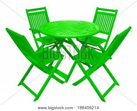 Green wooden table and chairs isolated on white with Clipping Path
