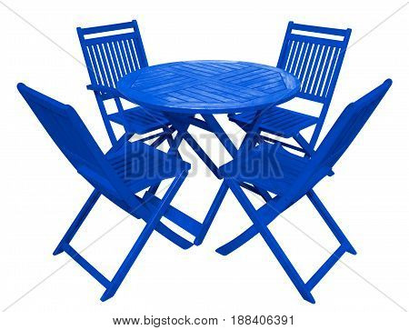 Blue wooden table and chairs isolated on white with Clipping Path