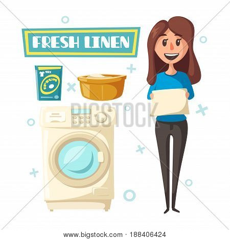 Laundry poster with washing machine, detergent and fresh washed linen clothes. Vector design with woman holding bedclothes and wash liquid for laundry service or product information label