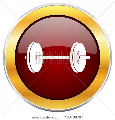 Fitness red web icon with golden border isolated on white background. Round glossy button.