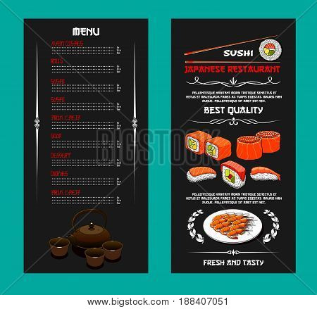Japanese sushi bar or seafood restaurant menu template design. Vector sushi and rolls with salmon fish, sashimi or tempura shrimp and squid on steamed rice with nori seaweed and green tea pot and cups